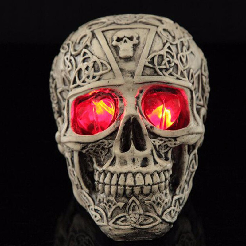 Skull Halloween Decoration Outdoor Party Supplies Horror LED Flashing Lights Resin Skull for Halloween Terrorist Spoof Props
