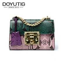 DOYUTIG Brand Europen Design Genuine Leather Little Serpentine Flap With Green & Pink Color For Women Luxury Crossbody Bags F592