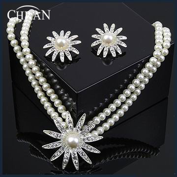 CHRAN Brand Costume Jewelry Crystal Rhodium Plated Imitation Pearl Bridal Wedding Jewelry Sets Conjunto Collar Y Pendientes