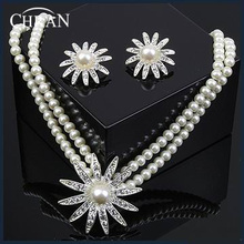 Rhinestone Rhodium Plated Necklace And Earrings Imitation Pearl Jewelry Set Wedding Jewelry Sets Conjunto Collar Y Pendientes