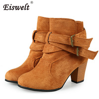 EISWELT Women Shoes Big Size Women Winter Cotton Flock Boots High Heels Sexy Boots Fashion Buckle