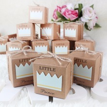 50pcsCandy Box Baby Shower Little Prince Princess Crown Kraft Boxes Blue Pink Candy for Girl Boy Birthday Favors