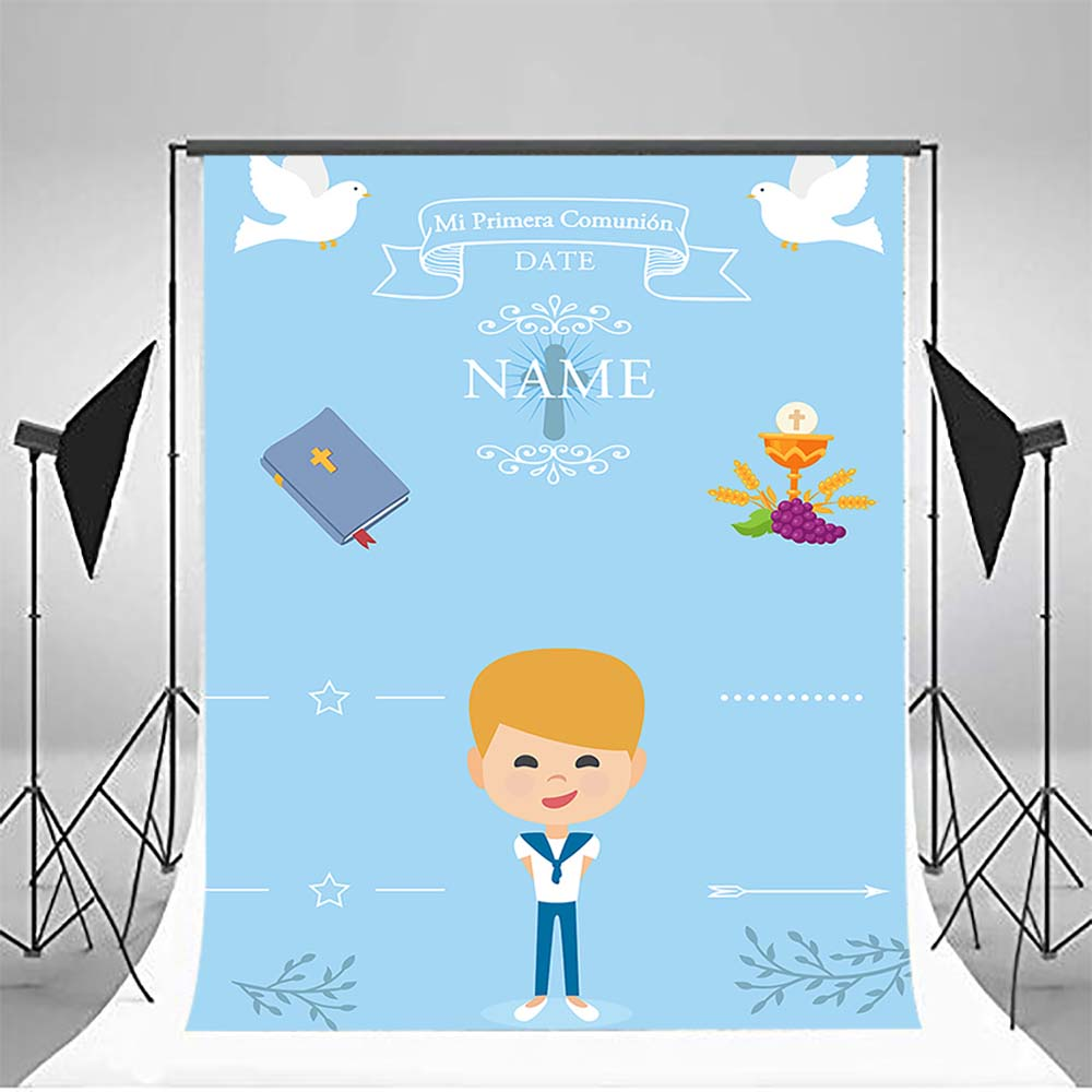 Mehofoto First Holy Communion Photography Backdrops Little Cartoon Boy Bible Grail Photo Booth Backgrounds Studio Seagull MW-335