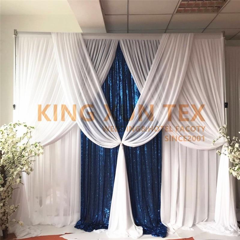 Rideau de toile de fond de mariage en soie blanche 3 M x 3 M avec cantonnière drapée, tissu en paillettes bleu Royal