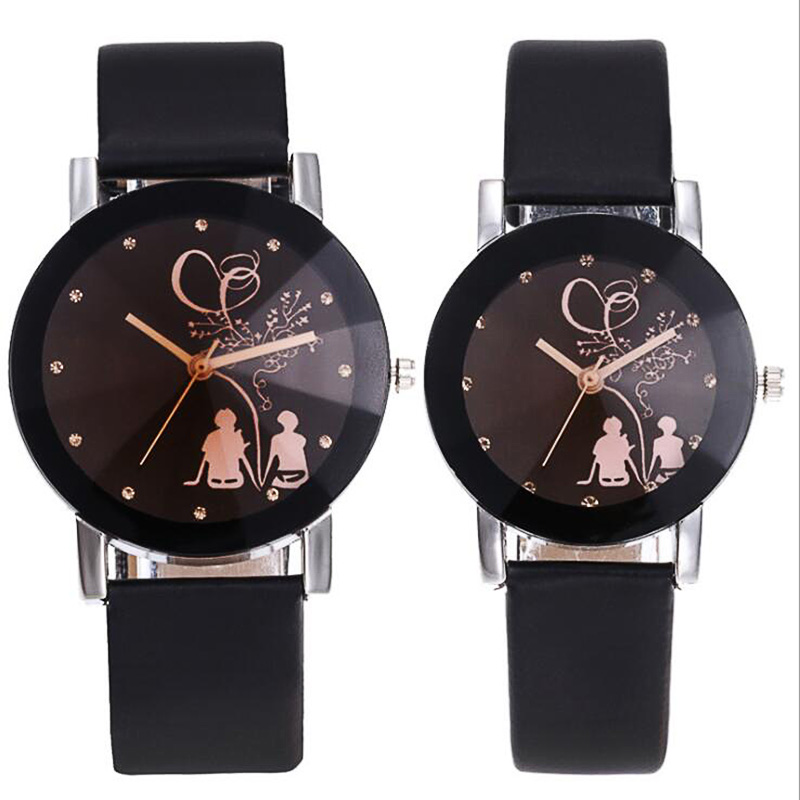 New Relogio Couple Watches Valentine's Day Student Couple Stylish Spire Glass Belt Quartz Watch Men's Watches Women's Watches