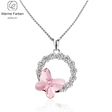 WARME FARBEN Crystal From SWAROVSKI Women Pendants Necklace 925 Silver Jewelry Inlaid Zircon Circles Butterfly Necklace Collares