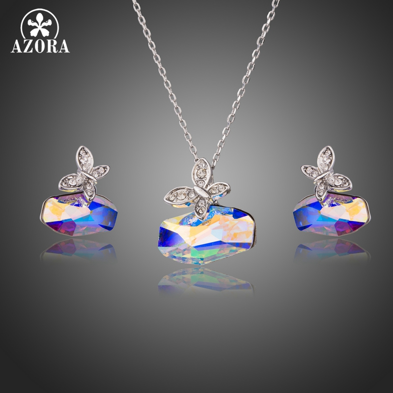 AZORA Butterfly with Irregular Cut Color-change Stellux Austria Crystal Stud Earrings and Pendant Necklace Jewelry Sets TG0227 yoursfs twisted necklace and dangle stud earrings jewelry set for mother s day with solitaire austria crystal gift 18k white gol
