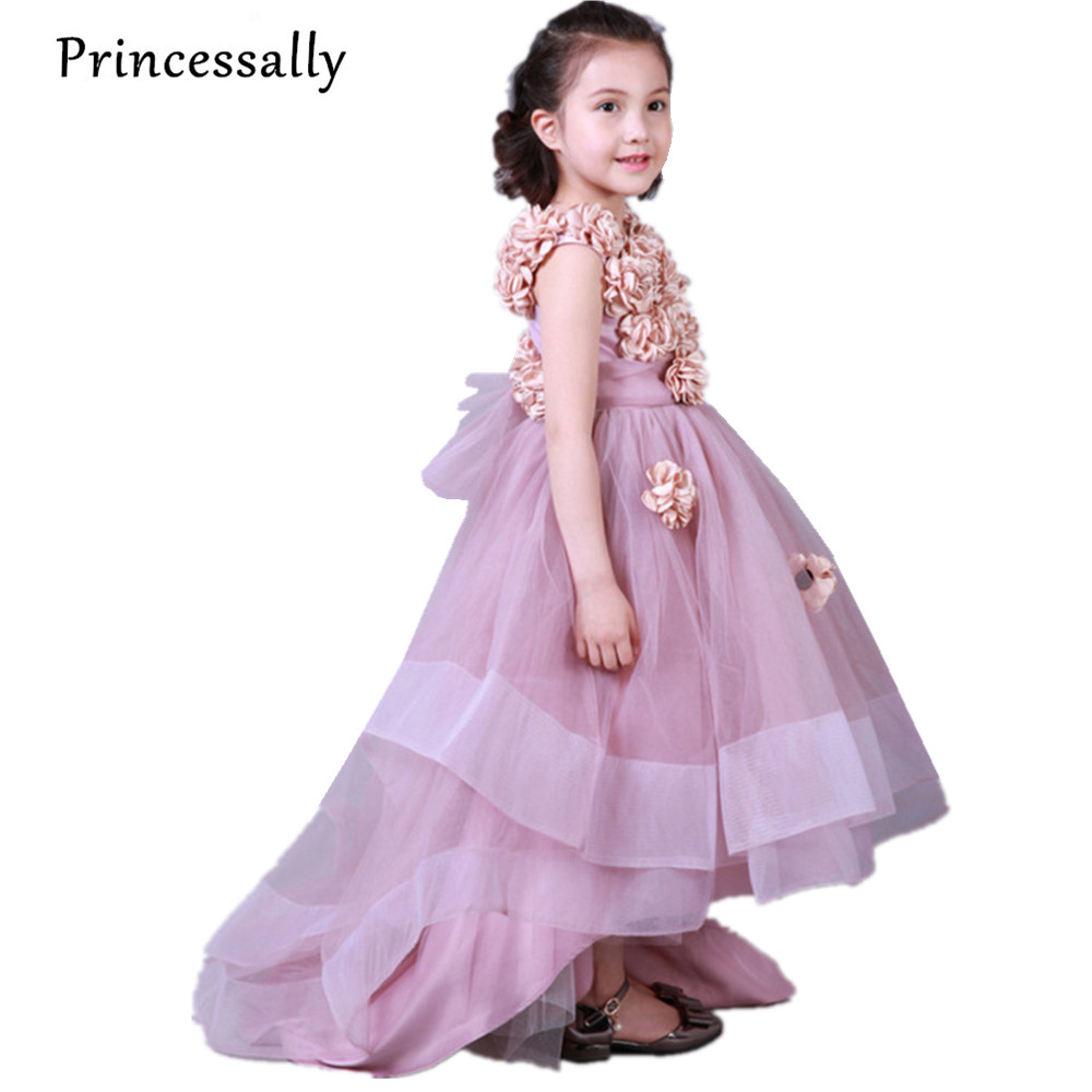 Dusty Pink Flowers Girls Dresses Kids Evening Gowns With Train