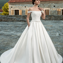Liyuke A Line Forge Married Wedding Dress 2019 White