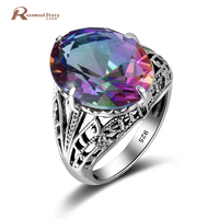 Sale Rainbow Created Topaz Solitaire Engagement 925 Sterling Silver Rings For Women Band Wedding Promise