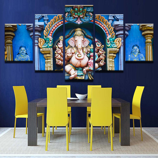 Unframed Wall Art Pictures Home Decor Living Room 5 Pieces India Ganesh  Posters HD Printed Elephant