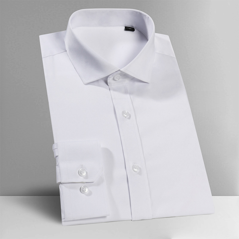 2019 NEW! Mens Poplin Extra Slim Fit Windsor Collar Single Cuff Shirt - White,S~6XL
