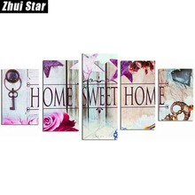 """Zhui Star 5D DIY Full Square Diamond Painting """"Home Sweet Home"""" Multi-picture Combination 3D Embroidery Mosaic Home Decor BK"""