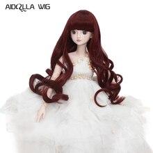 Bjd perruque taille 7-8 pouces 1/4 haute température perruque fille cheveux longs poupée perruque en beauté rouge poupée bricolage fabrication & réparation accessoire