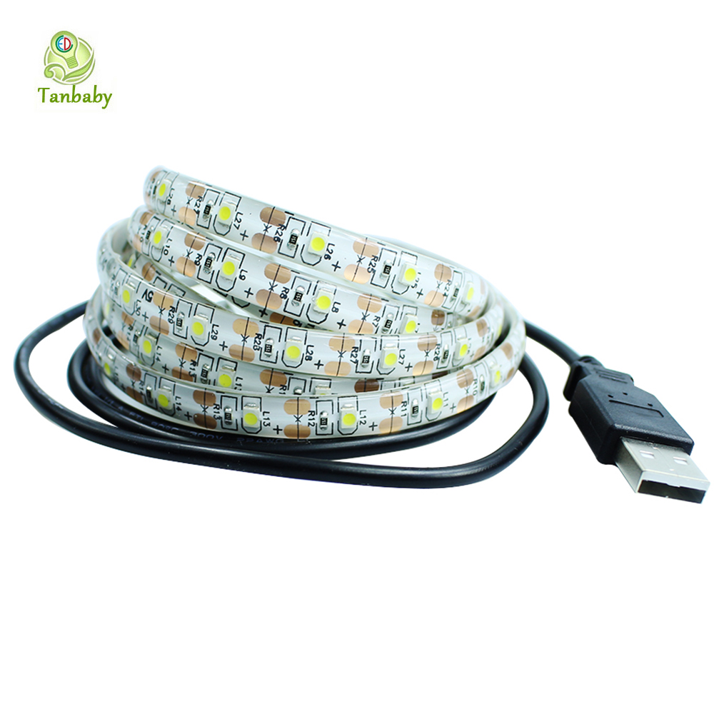 Tanbaby DC 5V USB LED strip light 2835 SMD White RGB Flexible Light 1M 2M 5M TV Background decoration home Lighting 60led/M