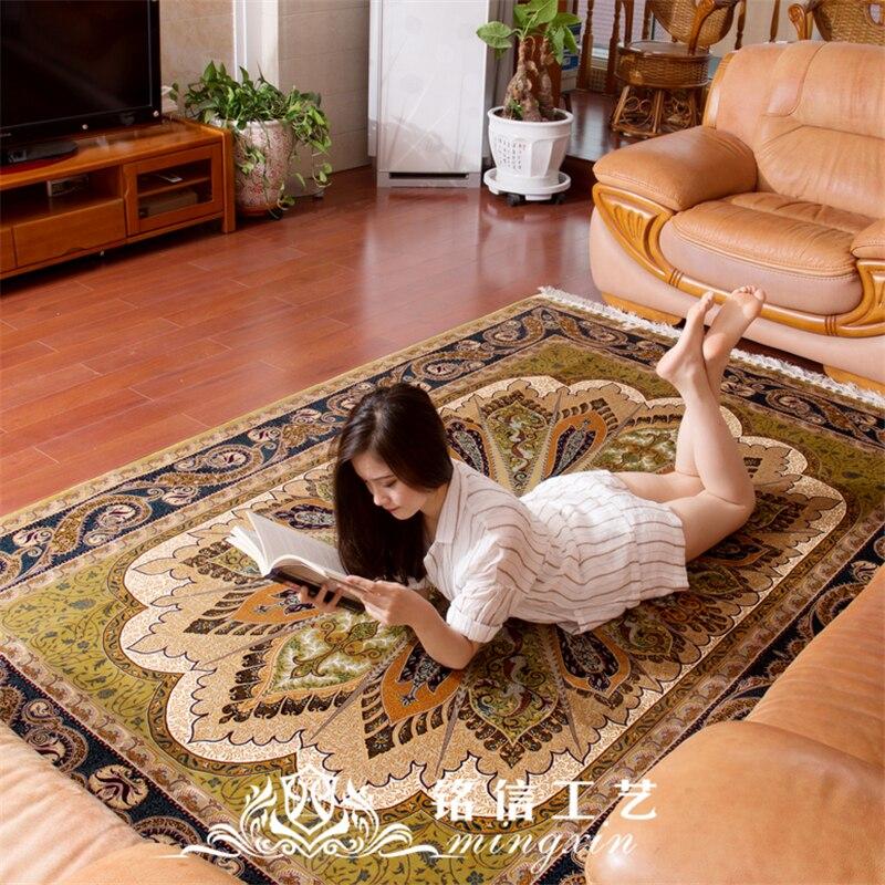 Tapis de soie traditionnel noué à la main 6'x9 'tapis turc fait main