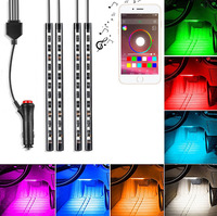 4Pcs 12V Car RGB LED DRL Strip Light 5050SMD Car Auto With Mobile APP Control Decorative