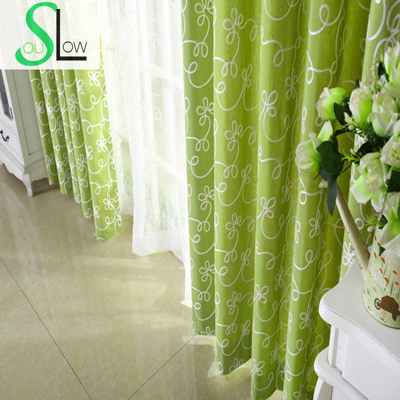 Slow Soul Blue Green Pink White Fresh Embroidered Curtain Pastoral Floral  Curtains Tulle For Living Room
