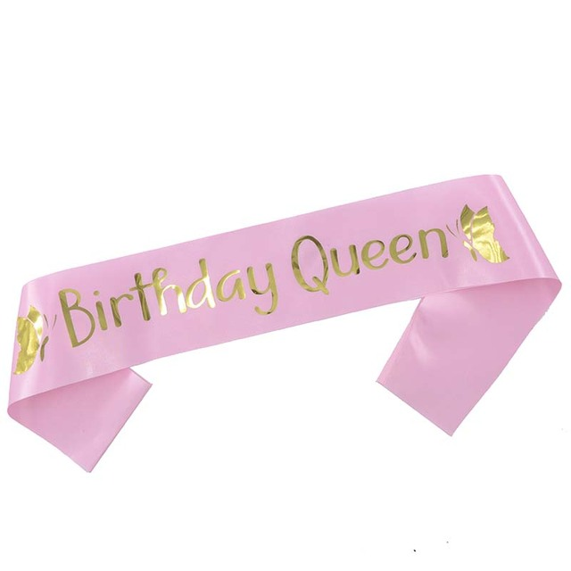 Birthday Queen Satin Ribbon Sash 20th 21st 30th 40th 50th For Women Girl Happy Party Decorations Supplies