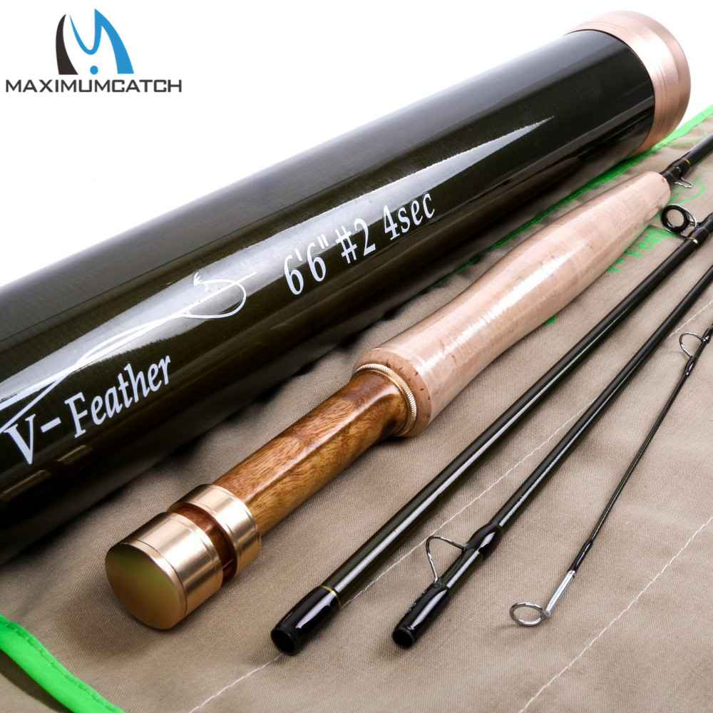 Maximumcatch New Design Fly Fishing Rod V-Feather 6624 SK Carbon Fiber Very Light Fly Rod With a Carbon Fiber Rod Tube