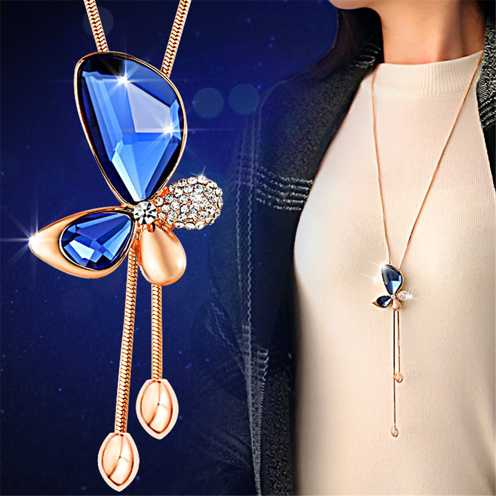 3color Fashion long section sweater chain necklace Fine jewelry Crystals from Austrian female clothes hanging chain jewelry
