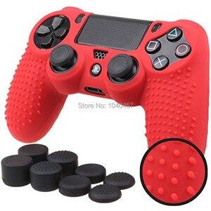Image 5 - Силиконовый чехол для контроллера Sony Dualshock PS4 DS4 Slim Pro, защитный чехол + колпачки для захвата большими пальцами для Play station 4