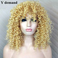 Rihanna's Hairstyle Afro blonde wigs kinky curly wigs synthetic cheap wigs for black women bobs pruiken perruque
