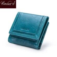 Bolsa de moedas de couro genuíno carteira curta carteras qualidade titular do cartão saco de dinheiro para meninas