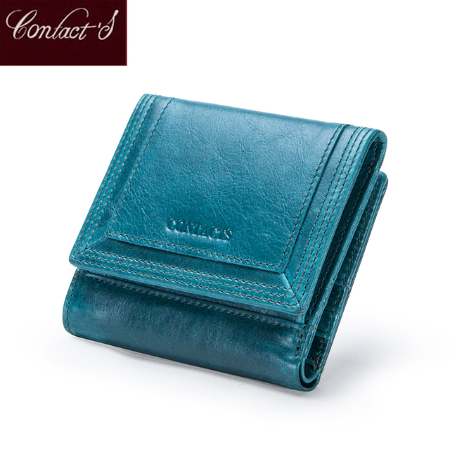 Contacts Brand Designer Women Wallets Genuine Leather Coin Purse Wallet Short Carteras Quality Card Holder Money Bag for Girls