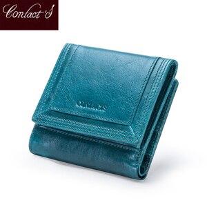 Image 1 - Contacts Brand diseñador de Carteras de mujer, monedero de cuero genuino, billetera corta, tarjetero, monedero para niña
