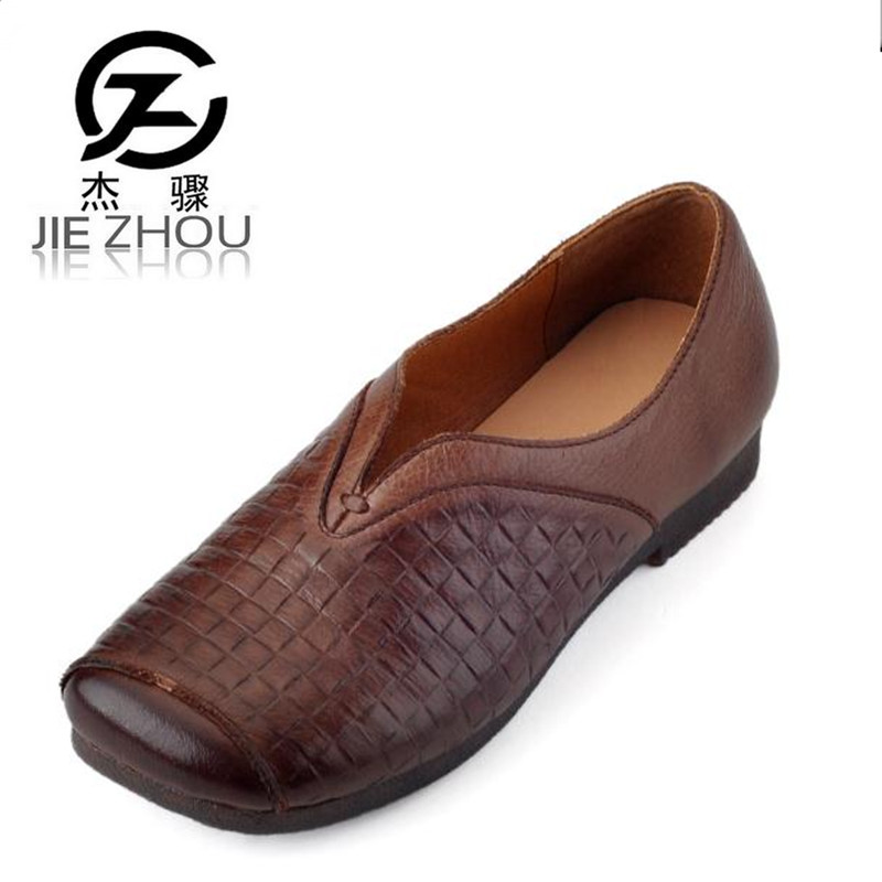 New Spring Autumn retro style hand-woven square leather flat shoes Brown, black soft bottom cow leather Women shoes mom shoes original handmade autumn women genuine leather shoes cowhide loafers real skin shoes folk style ladies flat shoes for mom sapato
