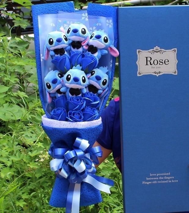 7 estilos Kawaii Lilo Stitch sopa flor peluche Anime Lilo y Stitch suave peluche de la muñeca de San Valentín romántico regalo ninguna caja