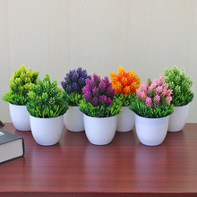 Artificial green plant potted Luo Hansong welcoming pine bonsai artificial overall floral ornament decoration AQ154