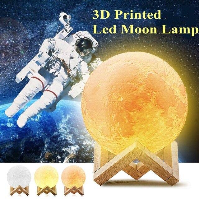 FENGLAIYI Rechargeable 3D impression USB LED veilleuse tactile capteur lune lampe décor à la maison bureau nuit lune lampe DC5V 2 couleur/RGB