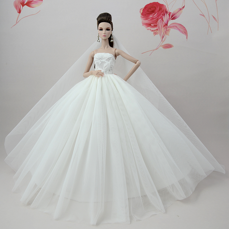 NK One Set Princess Doll  Evening Gown Handmade  Doll Clothes Lace Wedding Dress for Barbie Dolls For 1/6 BJD Doll Gift