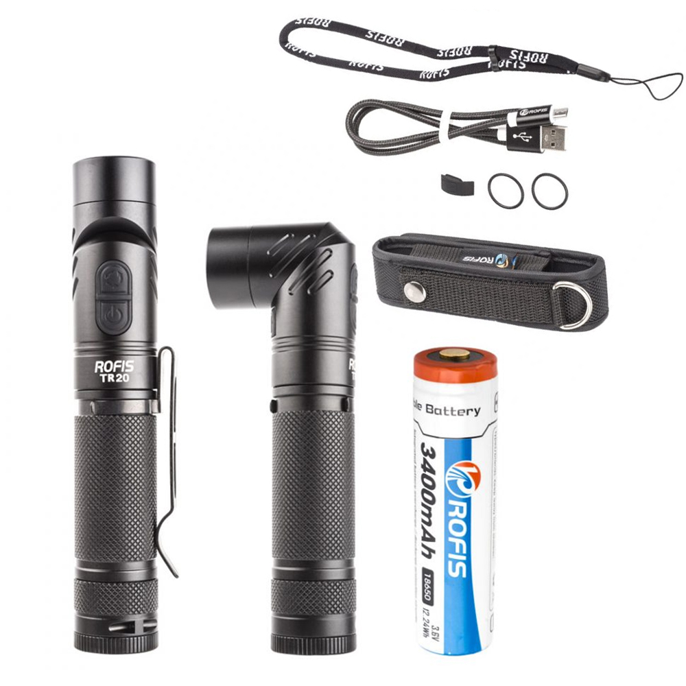 Adjustable-head flashlight ROFIS TR20 1100 lumen CREE XP-L HI V3 LED 90 Degree Head Rotation rechargeable torch with battery