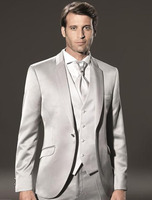Latest Designs Light Grey Velvet Men Suits Slim Fit Groom Tuxedos Wedding Suits Blazer Terno Masculino (Jacket+Pants +Vest) X