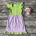 baby girls Easter egg dress girls kids love easter boutique party dress kids ruffles cotton dress with matching bows