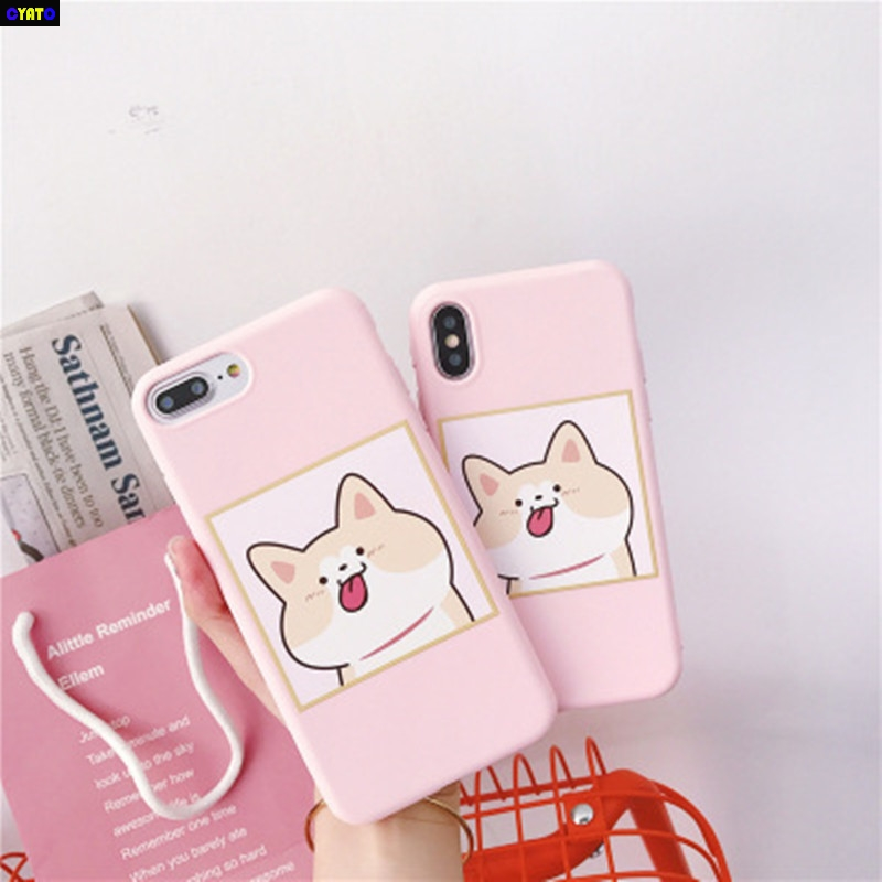Cyato Shiba Inu Soft Phone Case for iPhone X Cases 7 8 6 6s Plus Back Cover Candy Color Cartoon Dog Coque
