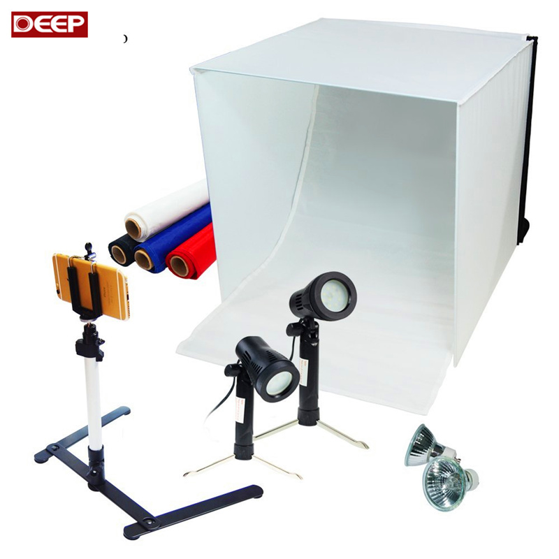 Table Top Photography Studio Light Tent Kit 40CM Photo Tent Mini Camera Stand Tripod with Cell Phone Holder LED Light BACKGROUND 40cm softbox kit led bluetooth pvc background photography shooting table small photo studio phone tripod jewelry set equipment