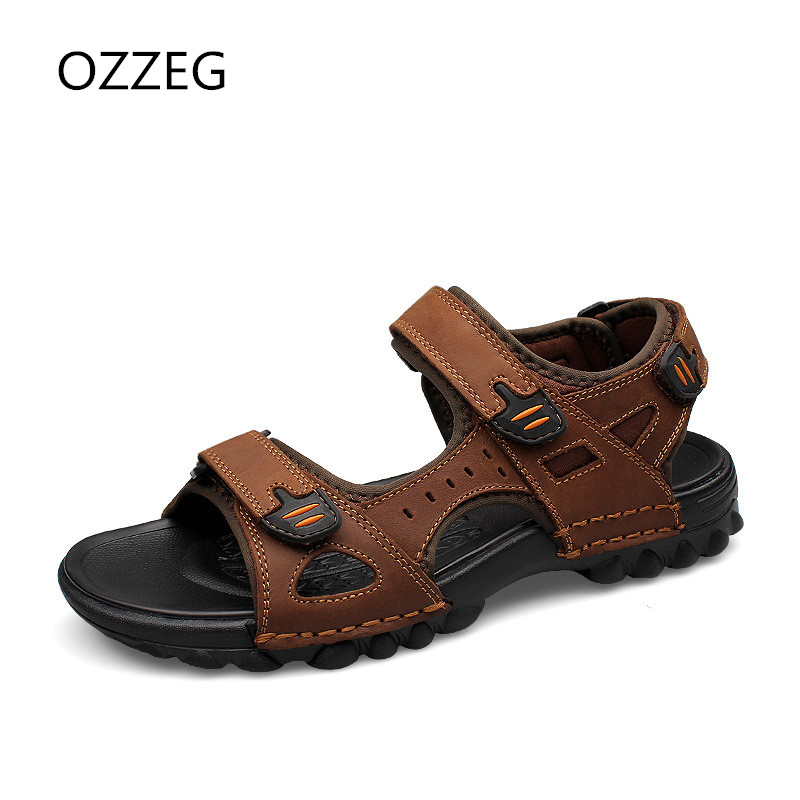 Man Sandals Summer Genuine Leather Shoes Fashion Leisure Beach Sandals Men Leather Sandals Plus Size 38-48