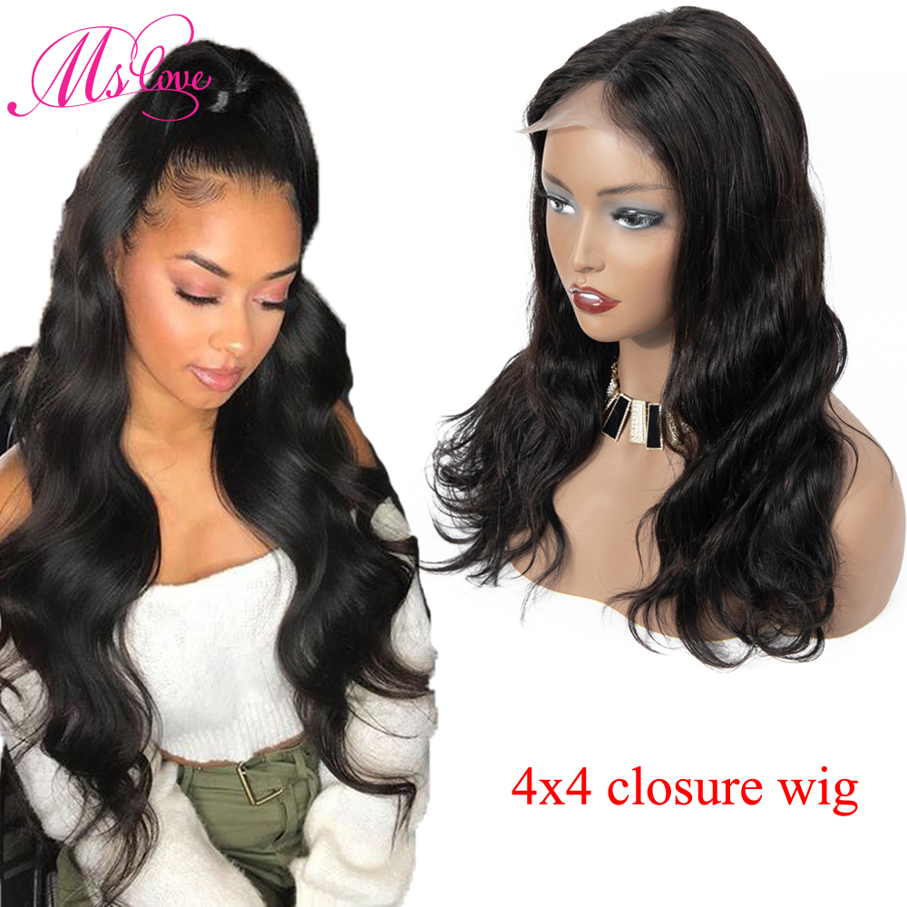 Ms Love 4X4 Lace Front Human Hair Wigs Body Wave Brazilian Human Hair Wigs For Black