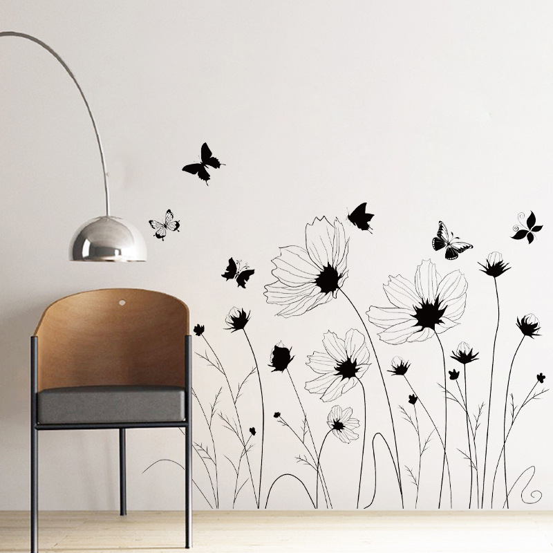 62x85cm Black Sunflower Bedroom Living Room Wall Sticker DIY Beautiful Stickers Decorative Environmental Protection Mural