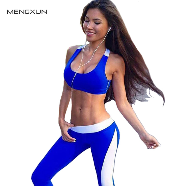 2017 Women Patchwork Clothes Suits Bra Fitness Clothing Tops and Elastic Capris
