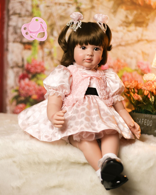 60cm Silicone Reborn Baby Doll Toys Vinyl Princess Toddler Babies Like Alive Bebe Girls Bonecas High