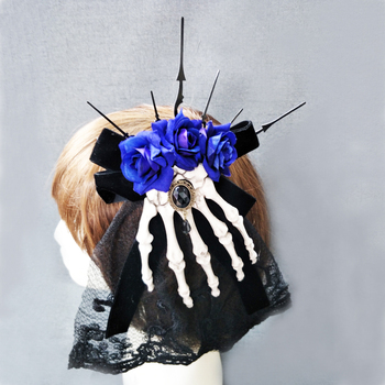 New Trendy Steampunk Women Skeleton Hand Bone Claw Punk Hair Clip Rose Gothic Hair Accessories  1