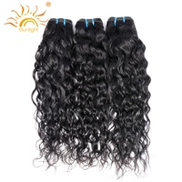Indian Water Wave Human Hair Extensions 8 28 Natural Black 1 Piece Non Remy Hair Weave