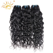 Indian Water Wave Human Hair Extensions 8″-28″ Natural Black 1 Piece Non-Remy Hair Weave Bundles Sunlight Human Hair Can Be Dyed