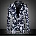 2015 de primavera y otoño de Los Hombres de Moda Plus tamaño de La Flor de impresión traje masculino chaqueta delgada prendas de vestir exteriores de los hombres