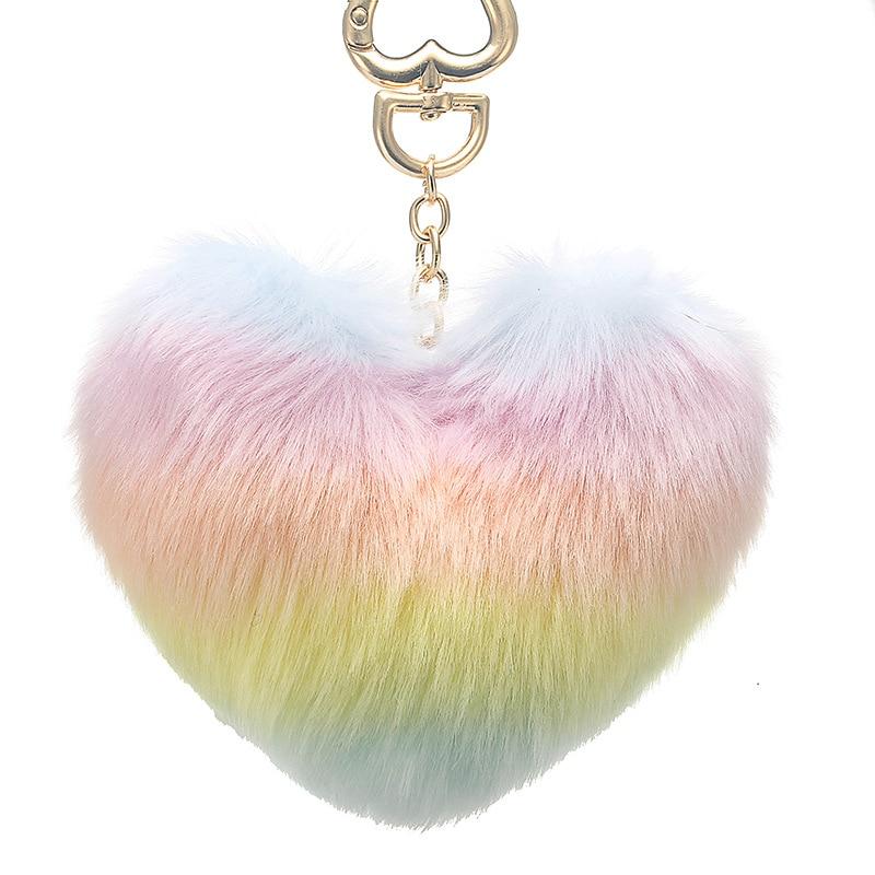 Heart Pompoms Keychain Rainbow Plush Balls Key Chains Decorative Pendant For Women Bag Accessories Keychains Car